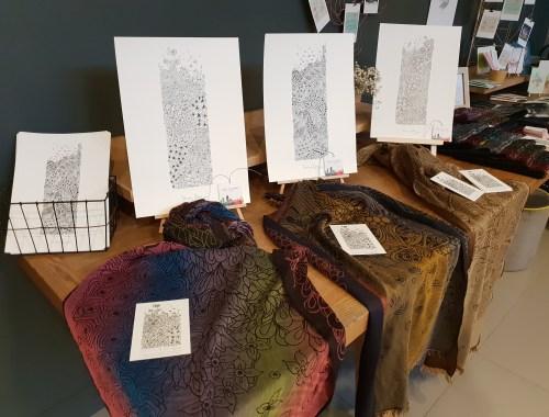 ©Véronique Milioni, créatrice, dessins méditatifs au trait, inspiré de la nature, papeterie & textile, Vente au Mob Hotel à Lyon 2e