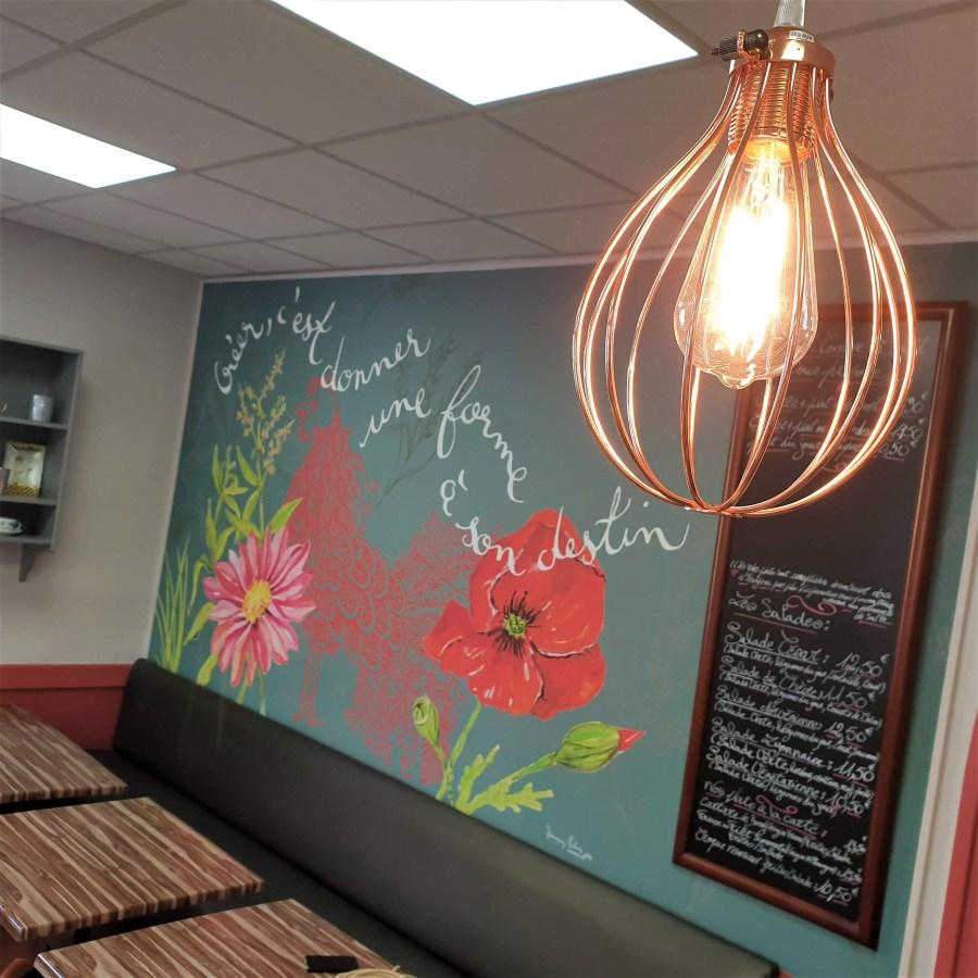 Papier peint motif personnalisé sur-mesure restaurant Lyon Véronique Milioni