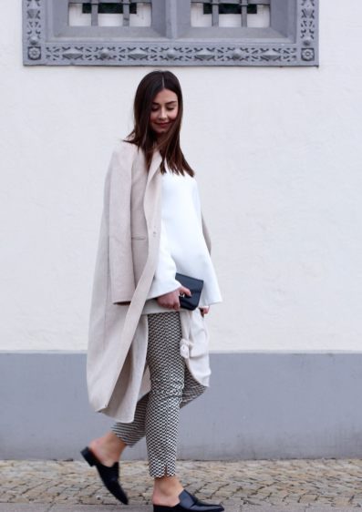 Proenza Shouler, beige coat, Mantel, Slipper, Stoffhose