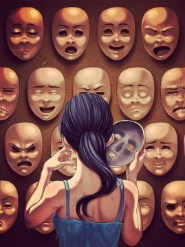 donna-maschera-doppia-faccia