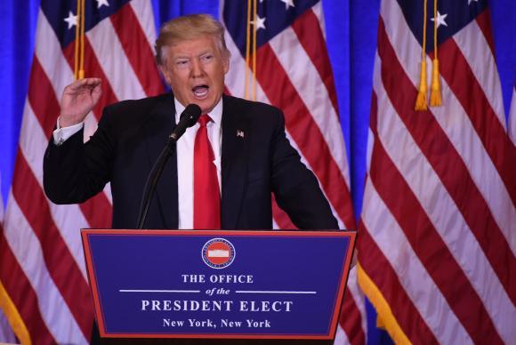 Donald Trump toma posse como o 45o presidente dos Estados Unidos. Foto: Don Emmert- AFP