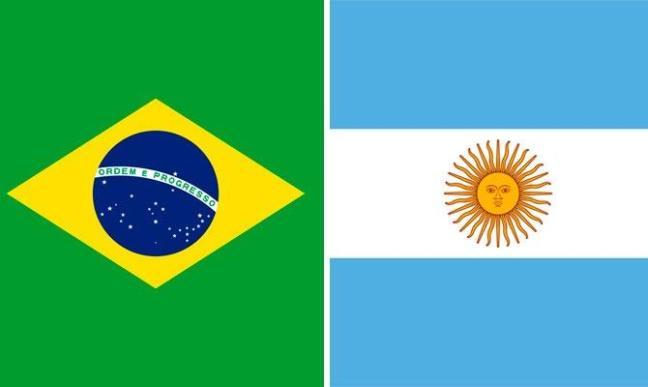 Bandeiras do Brasil e Argentina juntas
