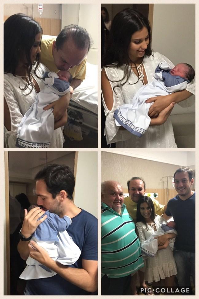 Nelter Queiroz com seu mais novo filho, a mãe Luciana Motta e familiares. Foto: Cedida