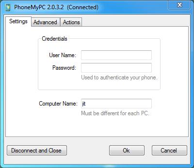 phonemypc desktop setting