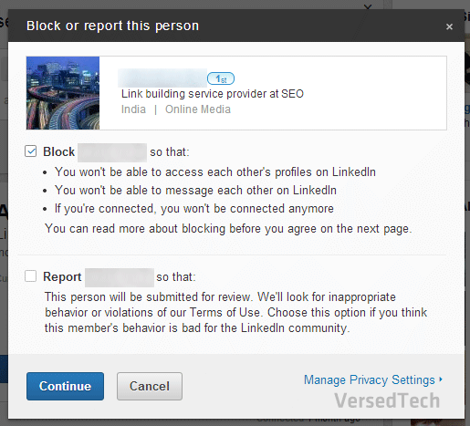 block someone on LinkedIn