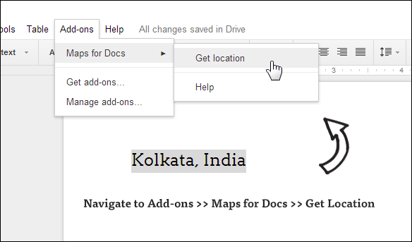 embed map in Google Docs