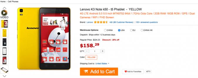 Lenovo K3 Note 4G Phablet