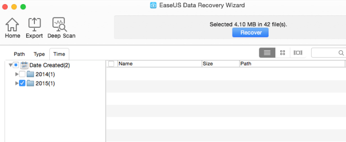 Path Type Time in EaseUS Data Recovery Software