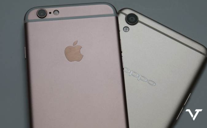 Apple iPhone 6s and OPPO F1 Plus Smartphoe