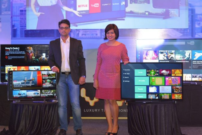 L to R - Mr Amit Bansal - Head Large Appliances, Flipkart and Ms. Devita Saraf, CEO and Design Head, Vu Technologies