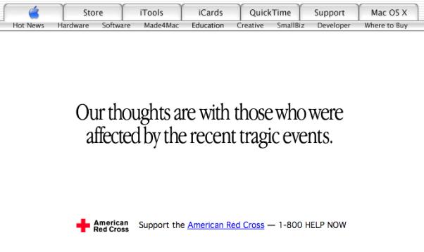 Apple.com after September 11 terror attacks (2001)