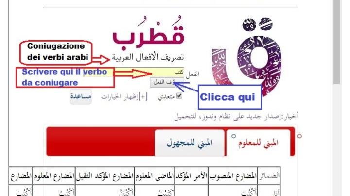 Coniugatore dei verbi arabi, provalo!