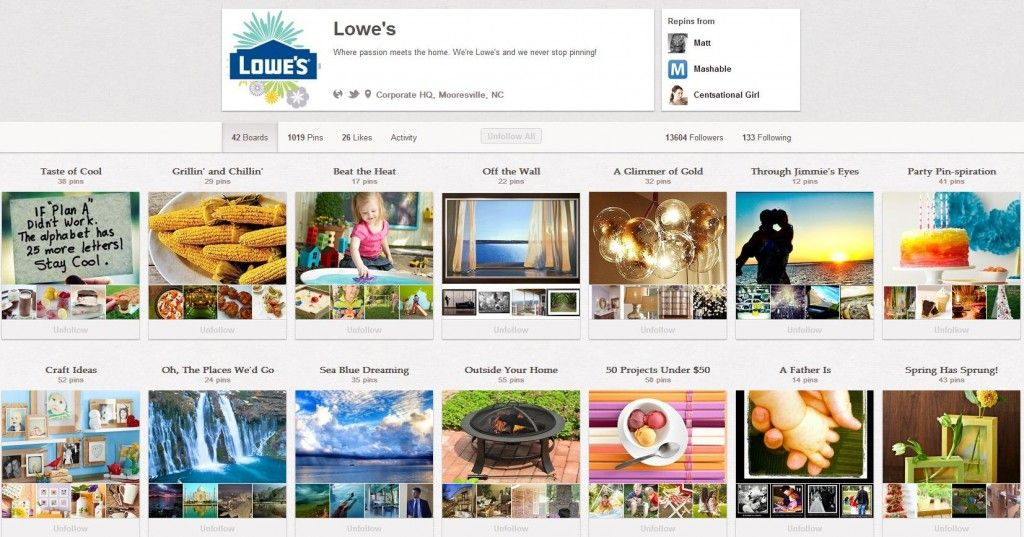 Lowes Pinterest Boards