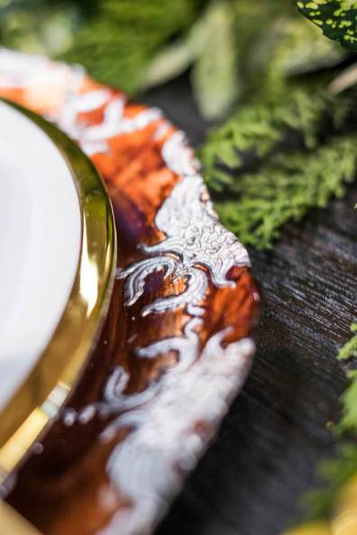 These amber glass platters couple as dinner plates and serving platters – just divine!