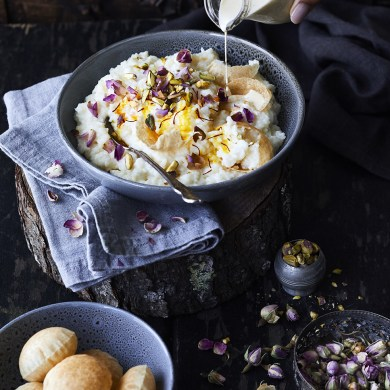 Kheeraj with Rose Petals & Pistachios. My Indian Cookbook by Ashia Ismail Singer. Published by Potton & Burton.