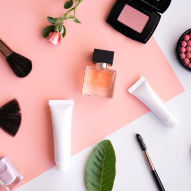 Beauty and Cosmetic Products Flat Lay