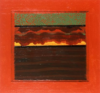Bombay Sunset, 1972 - 1973 Oil on wood 33 1/2 x 36 1/4 inches 85 x 92 cm. Image Credits: Howard Hodgkin and Gagosian