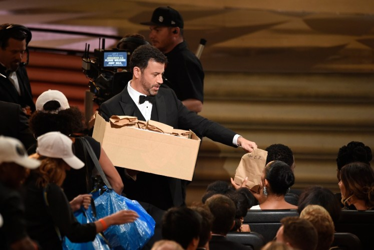 Host Jimmy Kimmel distributed sandwiches at the 68th Primetime Emmy Awards