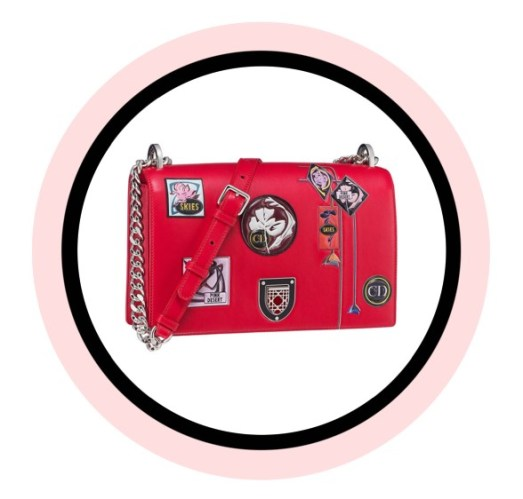 Diorama bag in red 'Paradise' calfskin, badges and flowers in embossed leather, with an enamel framed badge closure.