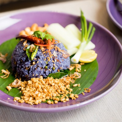 Khao Phad Samunprai - Butterfly Pea Rice with Thai Herbs