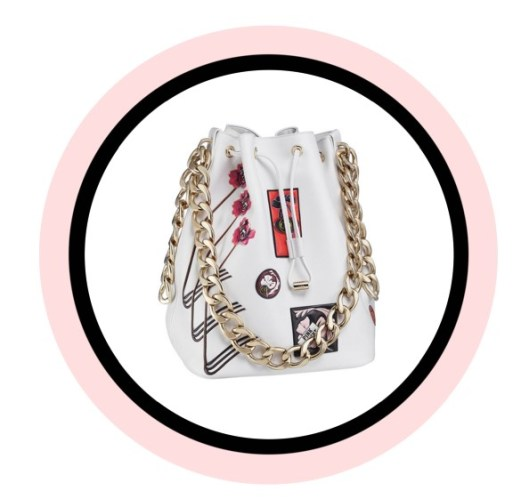 Dior Bubble bag in white 'Paradise' calfskin, with badges in leather.