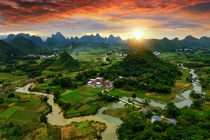 Yangshuo's landscape of the Guilin hills, Li River and Karst mountains