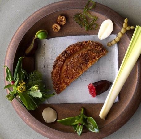 Abalone schnitzel with bush condiments