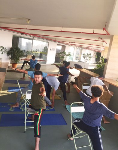 An in-office yoga class