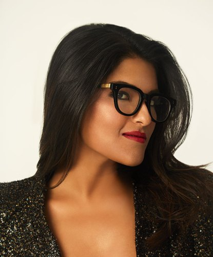 Blazer, spectacles, both Ankiti's own.