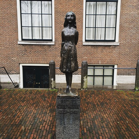 Anne Frank Statue near Anne Frank Huis