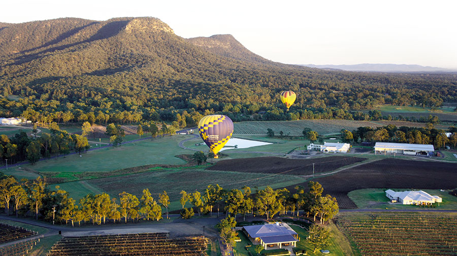 Ballooning over the hunter valley landscape, Hunter Valley, Australia