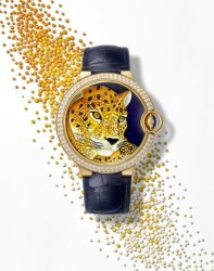 Ballon Bleu de Cartier enamel granulation with panther motif