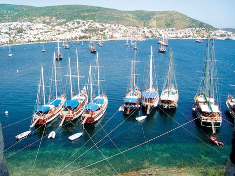 Sailboats and coastline viewed from the top of Bodrum Castle