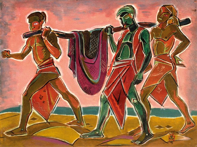 Bombay fishermen (1953), Oil on canvas, 21 x 16 in