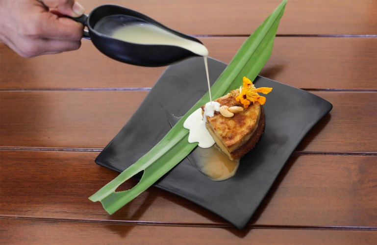 Bread and Butter Pudding with Almandine Financier and Pandanus Creme Anglaise