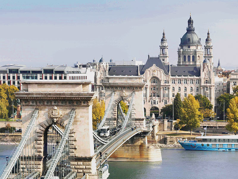 Budapest, The Chain Bridge connecting two ends of the Danube River