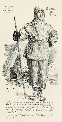 British polar explorer Sir Ernest Shackleton sporting his Burberry-designed outfit