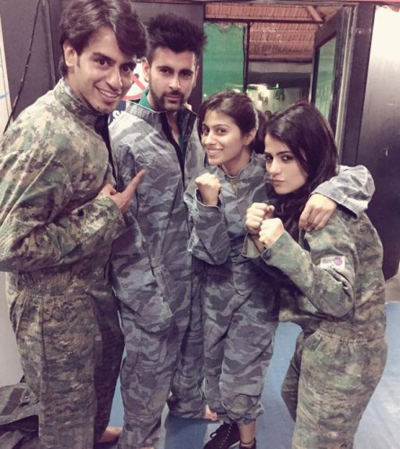 Radhika with friends just before a session of Paintball