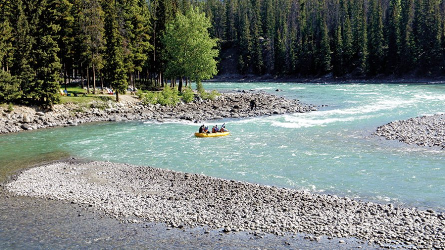 Rafting down the Athabasca River