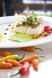 Pan-seared sea bass