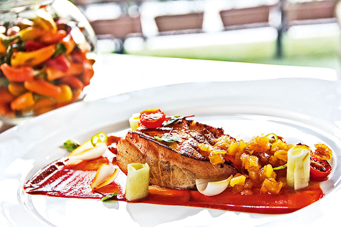 Chef Tania Tovar, Chef Indrajit Saha, Pescado al Pastor, Pan-seared Sea Bass with Carrot Puree