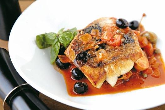 Tomato-and-caper-laced sea bass