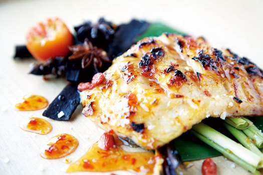 Lemon-chilli-infused sea bass