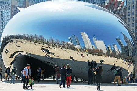 City icon: the Bean or Cloud Gate