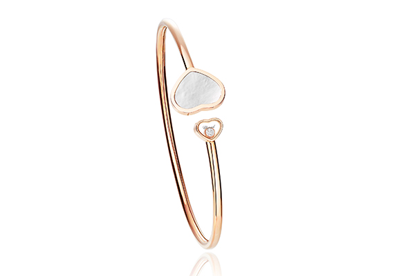 Chopard's mother of pearl bracelet in rose gold.