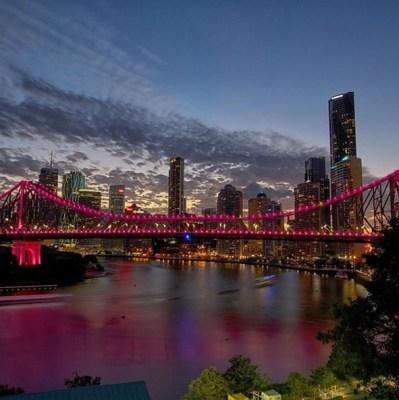 Brisbane Bridge lit up on Christmas
