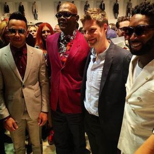 Lewis Hamilton, Samuel L Jackson, Christopher Bailey, Tinie Tempah at Burberry