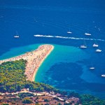 Croatia, The luscious sprawl of the Golden Horn beach at Bol on the island of Brac