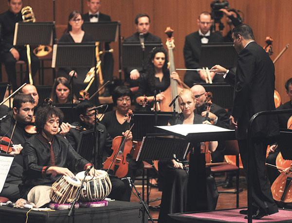 Zakir Hussain and the Symphony Orchestra of India perform a collaborative piece, Peshkar