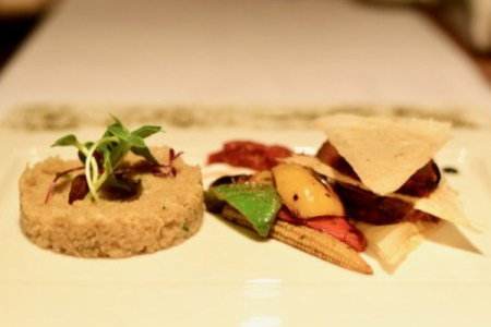 Quinoa served with char grilled vegetable